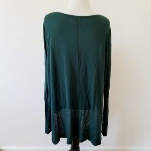 H&M Tops - Dark Green H&M Long Sleeve High-low Top